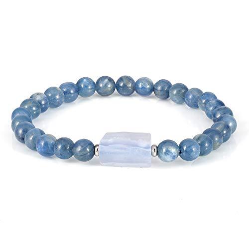 Pulsera elástica multicolor de piedras preciosas naturales con bola de plata, regalos para hombres, mujeres, cumpleaños, Navidad azul