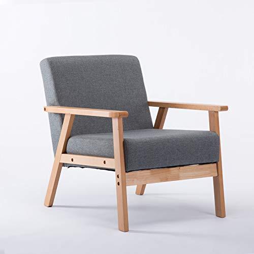 setsail Polstersessel Holzsessel Relaxsessel Loungesessel Wohnzimmersessel Retro-Sessel mit Armlehne für Wohnzimmer Schlafzimmer Grau