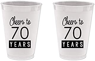 70th Birthday Frost Flex Plastic Cups - Cheers to 70 Years