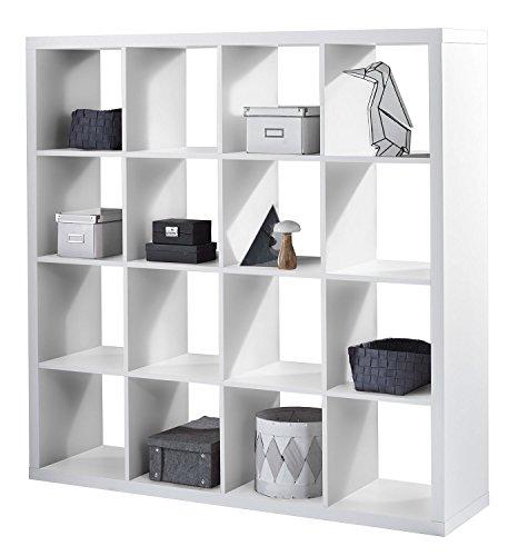 Regal Raumteiler Raumtrenner Standregal | Weiß Dekor | 16 Fächer | B/H/L: 147x147x38 cm