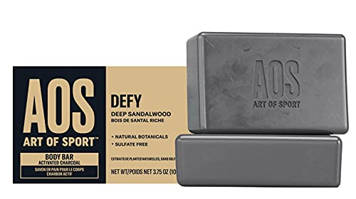 Art of Sport Body Bar Soap (2-Pack) - Defy Scent - Activated Charcoal Soap with Natural Botanicals Tea Tree Oil and Shea Butter – Deep Sandalwood Fragrance - Shower + Bath Soap - 3.75oz