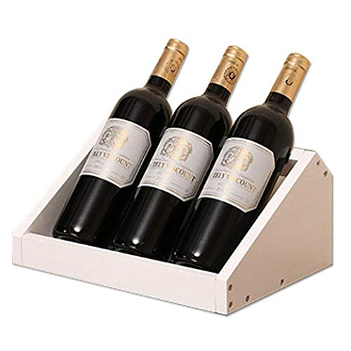 MYYINGELE Drewniany stojak na wino, 3/4/5/6/7/8 butelek stojaki na wino blat stojak do przechowywania wina rustykalne drewniane stojaki na blat dekoracyjny organizer, do dekoracji wnętrz, biały, uchwyt 3 butelki