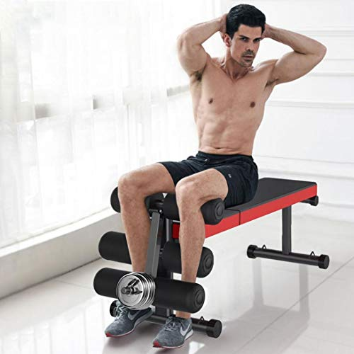 Offaod Weight Bench, Multi-Purpose Adjustable Workout Flat Incline Exercise Bench with Leg Extension and Curl, Home Gym Strength Training Dumbbell Flys Situps Bench Press