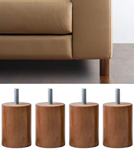 IPEA Patas para Muebles y sofás de Madera Color Nogal – Fabricado en Italia – Juego de 4 Patas con Forma de Cilindro para armarios y sillones – Patas de Color Nogal – Altura 60 mm