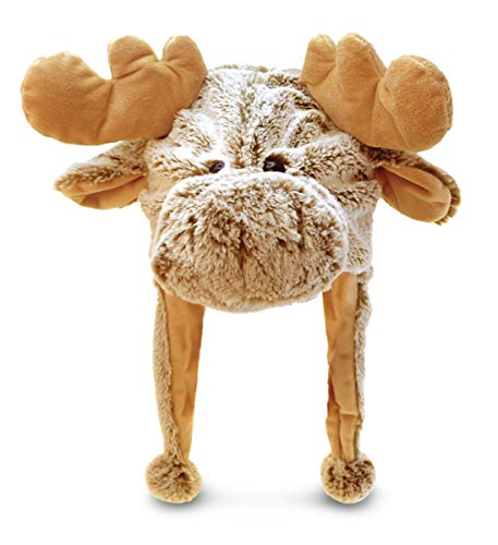 Puzzled 18' Soft Moose Plush Hat Cozy Party Costume Head Accessories, Moose Costume Faux Fur Hat, Fluffy Moose Cap, Funny Beanie Stuffed Animals Hat, Warm Fleece Crazy Hats, Kids Winter Hat - One Size