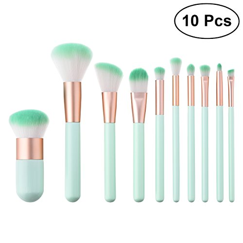 10 Stücke Kosmetik Pinsel Set Powder Foundation Concealer Blush Augenbraue Lidschatten Pinsel Kit (T-10-121 Mint Green)