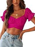 Avanova Women's Ruffle Short Sleeve Off Shoulder Tie Up Back Crop Blouse Top Hot Pink Small