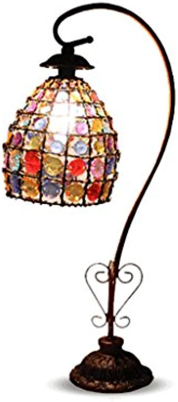 PIAOLING Europischen Stil Retro Tischlampe, handgewebte Perlen Serie Schreibtisch Lampe, Schlafzimmer Studie Tischlampe (Größe   B)
