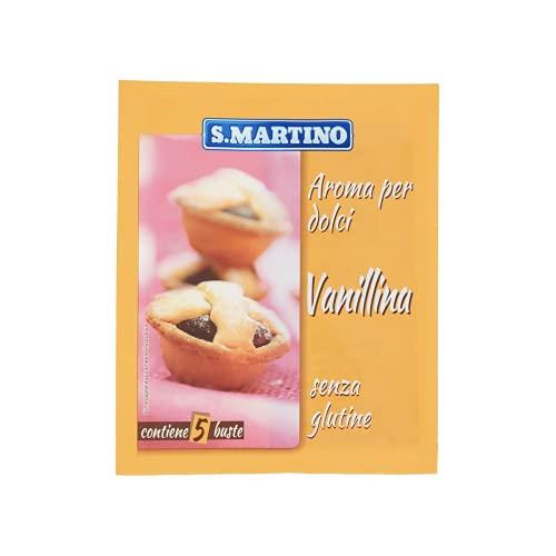 S.MARTINO - Vanillina in Polvere, Aroma per Dolci da Forno, 5 Bustine per 2g Totali, Ideale per Aromatizzare e Profumare Dolci da Forno, Budini, Sciroppi e Liquori, Senza Glutine, Made in Italy