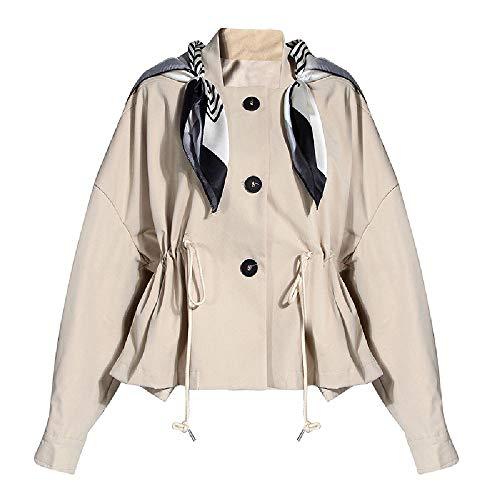 Nobrand Kurzer Kordelzug Taillenbund mit Seidenschal, Baseballkragen, Trenchcoat für Damen, Herbst, koreanisch, locker Gr. Large, khaki