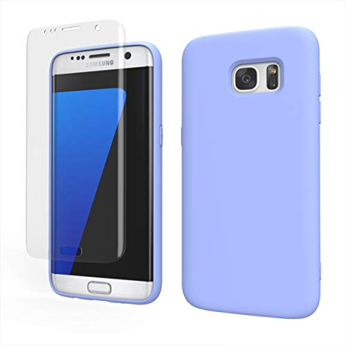 Weycolor Samsung Galaxy S7 Edge Case, with Screen Protector [2 Pack], Liquid Silicone Slim Soft Fit Drop Protection Case for Galaxy S7 Edge (Purple)