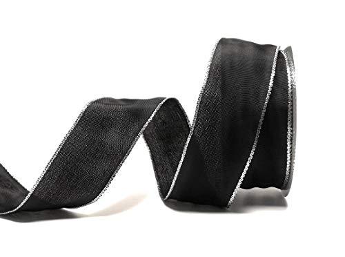 Konrad Arnold Schleifenband 25m x 40mm schwarz - Silber Dekoband mit Drahteinlagen Trauerband