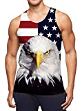 Leapparel Mens Running Tank Top Funny Graphic Printed Sport and Casual Relaxed Vest Shirt Big Size Patriotic American Flag Independence Day Tshirts Tees M