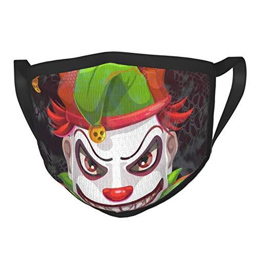 ZVEZVI Crazy Creepy Joker Face Angry payaso con sonrisa malvada en la cara aislada en negro adulto máscara de borde negro, protección facial portátil, bandana, borde elástico, pasamontañas