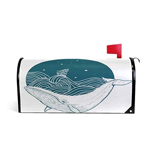 Wamika Wal Unterwasser-Tattoo Briefkasten-Abdeckung, wetterfest, magnetisch, verblassen/wetterfest, Weiß, 64,7 x 52,8 cm