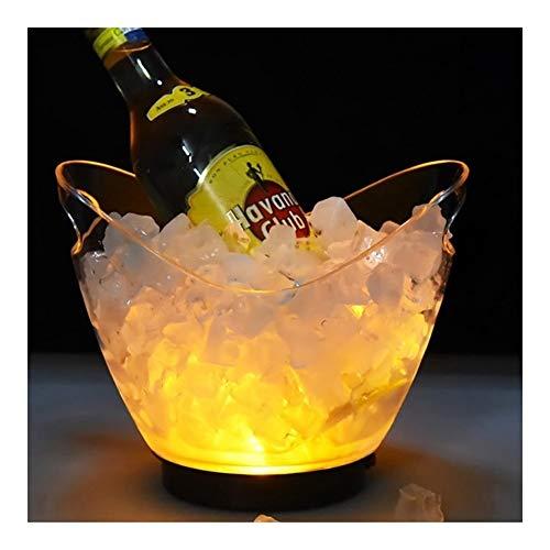 YNuo Nueva Transparente a la luz Cubo de Hielo Material acrílico 2 litros LED de Colores Champagne Cerveza del Barril de Vino 5 Color Opcional (Color : Yellow)