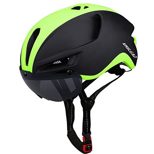 KINGLEAD Casco de Bicicleta de montaña,Casco Bicicleta de Carretera Seguridad para Hombres Carga USB,Casco Bicicleta para con Magnética Visera,Casco Bicicleta Adulto Montaña,Casco MTB 60-64CM