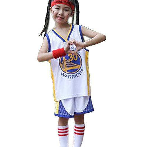 Golden State Warriors Kinder Teenager Basketball Trikots Anzug # 30 Stephen Curry, Jungen Mädchen Sommer Trainingsanzüge Ärmelloses Top mit Shorts Set-White-XS