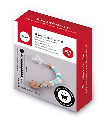 Rayher 70045000 Bastelpackung Schnullerkette, mint, Box 15 Teile, Silikonperlen, Holzperlen, Holzclip, Fädelschnur, speichel- und schweißecht, für Babys, zum Selbermachen