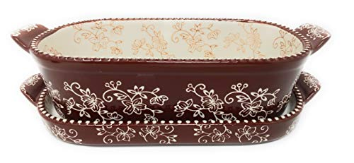 Temp-tations 1 Qt Squoval Baker w/Lid-It (Tray), Small Casserole Dish (Floral Lace Chocolate)