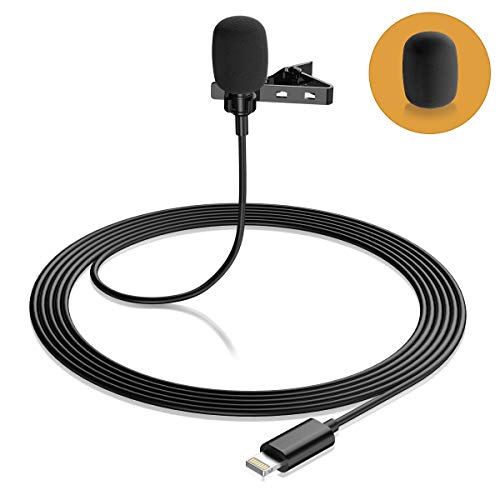 Lavalier Lapel Microphone for iPhone, Eafing Professional Lav Mic for Phone, Clip On Microphone for Recording Podcast/YouTube/Interview/Vlog/Video/Lecture (79in/2m)