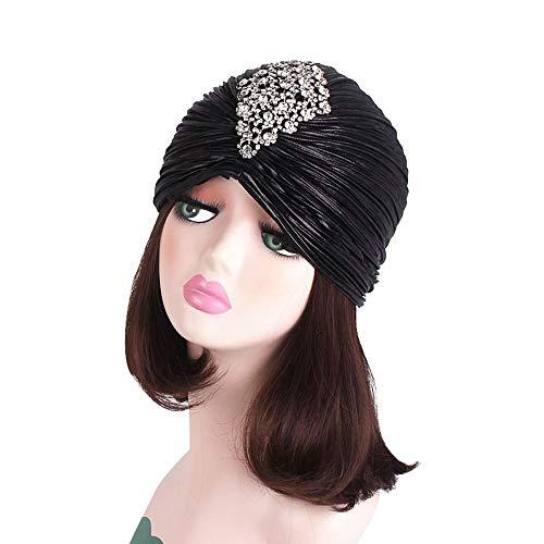 BGROESTWB Turbante para Mujeres El Oro Plisado Cap Turbante de Plata Diamante Accesorios India Sombrero de Las Mujeres Calientes de la Vendimia Gorra de Envoltura de Cabeza de Gorro (Color : Black)