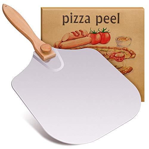 APRATA Premium Aluminum Paddle Pizza Peel With Foldable Wood Handle for Baking Homemade 12 X 14 Inch For Baking Homemade Pizza & Bread or BBQ