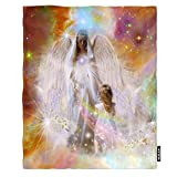 Moslion Soft Cozy Throw Blanket Guardian Angels Art Fuzzy Warm Couch/Bed Blanket for Adult/Youth Polyester 60 X 80 Inches(Home/Travel/Camping Applicable)