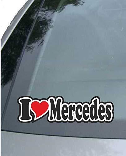 INDIGOS UG - Aufkleber/Autoaufkleber - I Love Heart - Ich Liebe mit Herz 15 cm - I Love Mercedes - Auto LKW Truck - Sticker mit Namen vom Mann Frau Kind