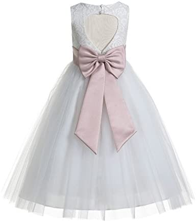 ekidsbridal Floral Lace Heart Cutout White Flower Girl Dresses Blush Pink First Communion Dress product image