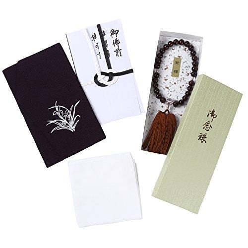 Best of Luck ブラックフォーマル 葬祭 セット 袱紗 数珠 香典袋 男性 用 メンズ (Aセット) hk_b_022
