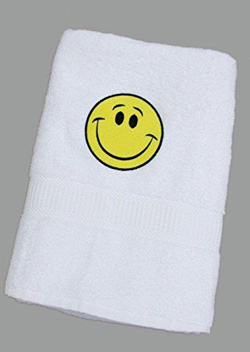 Weißes Badelaken/Duschtuch/Handtuch mit gelben Smiley 70 x 140 cm