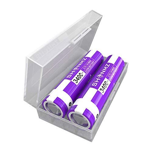 Batterie SHENMZ 2 pièces 3400mAh 3.7V 10A pour Dessus Plat, Taille Rechargeable, pour Lampe de Poche, Phare