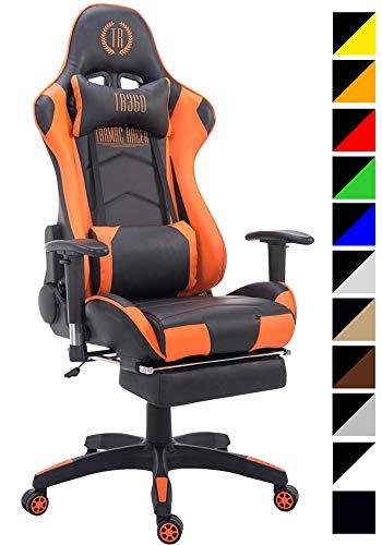 CLP Sedia Gaming Turbo in Similpelle Stoffa O Similpelle Effetto Metallico I Poltrona Racing Nero_Arancione Similpelle