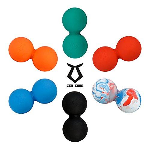 Zen Core Massage Duoball Original - Twinball Faszienrolle Lacrosseball Hartgummi, Größe 13 x 6 cm für die Anwendung zur Triggerpunkt- und Faszienmassage/Physiotherapie