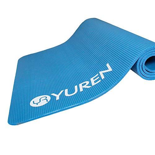 YUREN Yogamatte Extra Breit Blau Gymnastikmatte Fest für Männer 185x90x1cm XL Gym Yoga Pilate Cardio Crossfit öko NBR Komfort Fitnessmatte mit Tasche&Tragegurt