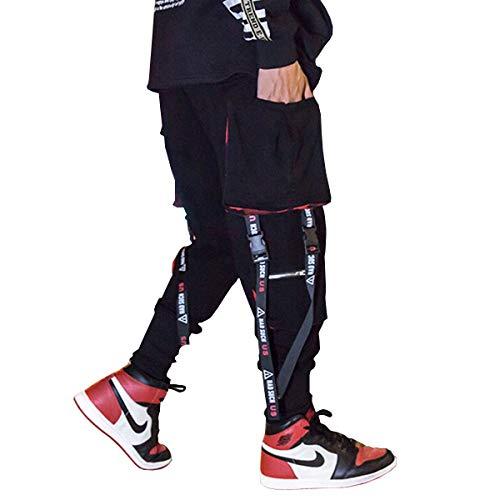 Astellarie Mens Punk Cargo Pants Hip-hop Jogger Patchwork Popular Baggy Teachwear Pants (34-36 Inch, Xblack)