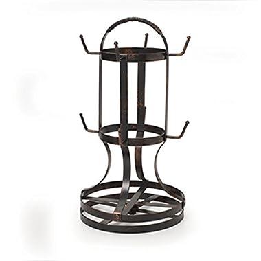 Gourmet Basics by Mikasa 5158729 Metal Rotating 8-Cup Mug Tree, Antique Black