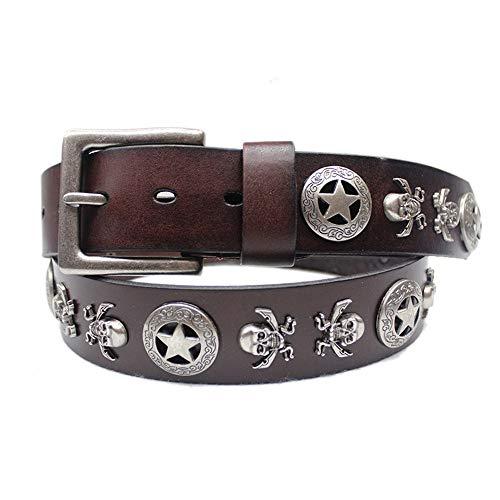 MICEROSHE Cinturón Punk Vintage Punk Jeans Casual 100% Cuero Genuino cinturón cinturón marrón (Color : Marrón, tamaño : Free Size)