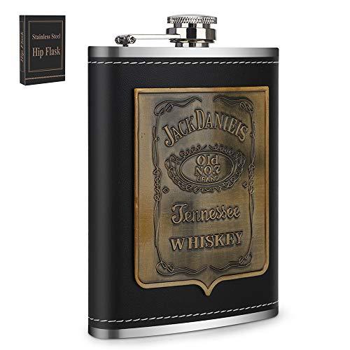 Flachmann,Edelstahl Flachmann,8OZ,224ML,Rostfreier Stahl Schwarzes Leder Tragbar Flachmann, Wodka Brandy Rum Geschenk für Männer