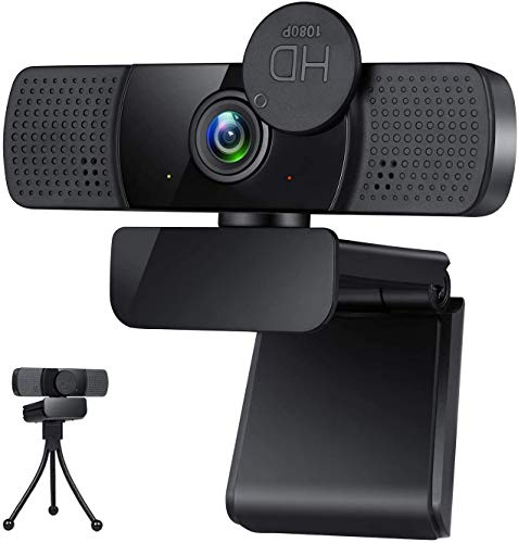 Webcam,Webcam with Microphone,USB PC Computer Webcam with Privacy Cover and Tripod,Laptop Desktop Full HD Camera Video Webcam,Pro Streaming Webcam for Recording,Calling,Conferencing,Gaming