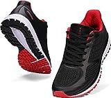 WHITIN Laufschuhe Herren Joggingschuhe Straßenlaufschuhe Turnschuhe Sportschuhe Gym Schuhe Walkingschuhe Fitnessschuhe Leichte Indoor Atmungsaktiv Alltagsschuh Trainers Schwarz Rot 42 EU