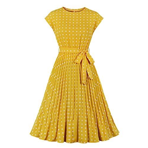 Wellwits Vestido vintage plisado con mangas de lunares para mujer