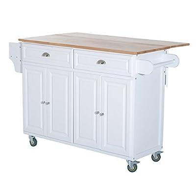 HOMCOM Rolling Oak Wood Drop-Leaf Kitchen Island Cart with Storage and Butcher Block by Aosom LLC