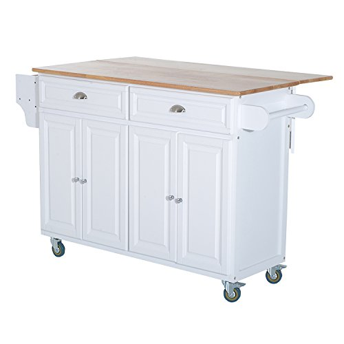 HOMCOM Rolling Oak Wood Drop-Leaf Kitchen Island Cart with Storage and Butcher Block - White