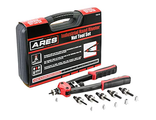 ARES 70418 - Heavy Duty Rivet Nut Setter - Includes M5, M6, M8, 10-24, 1/4-20, and 5/16-18 Mandrel Sets with Rivet Nuts - Works with Aluminum, Steel, and Stainless Steel Nuts