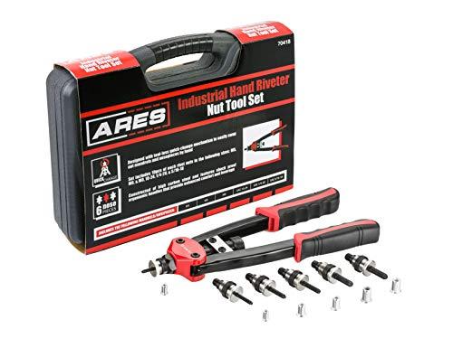 ARES 70418 - Setter de tuercas de remache para servicio pesado - Incluye juegos de mandril M5, M6, M8, 10-24, 1 / 4-20 y 5 / 16-18 con tuercas de remache - Funciona con tuercas de aluminio, acero y acero inoxidable