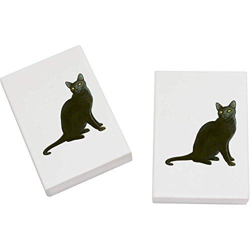 2 x 45mm 'Sitzende Schwarze Katze' Radiergummis (ER00018333)