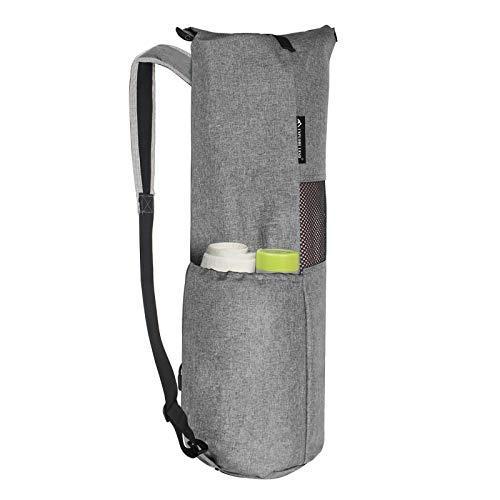 Explore Land Oxford Yoga Mat Storage Bag with Breathable Mesh Window and Large Pockets (Fits for Thicker or Widen Yoga Mat, Gray01)