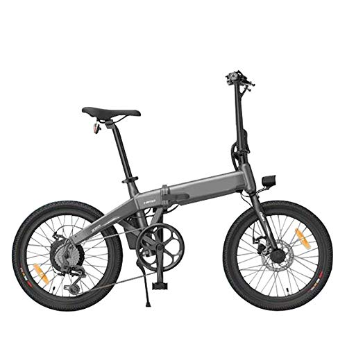 CARACHOME Bicicleta eléctrica, Bicicleta eléctrica Plegable para Adultos Neumático de 20 Pulgadas Alcance de hasta 80 km con Bomba de Tubo de Asiento Oculto,Gris